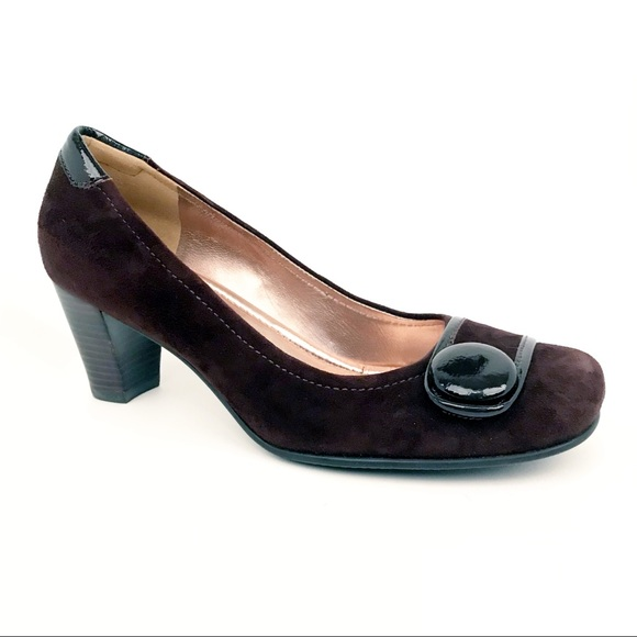 120fc95bb8f Ecco Shoes - Ecco Brown Suede Heels Button Toe Sz 39 8 8.5 9